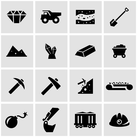 camion minero: Vector icono de la minería negro establece sobre fondo gris Vectores