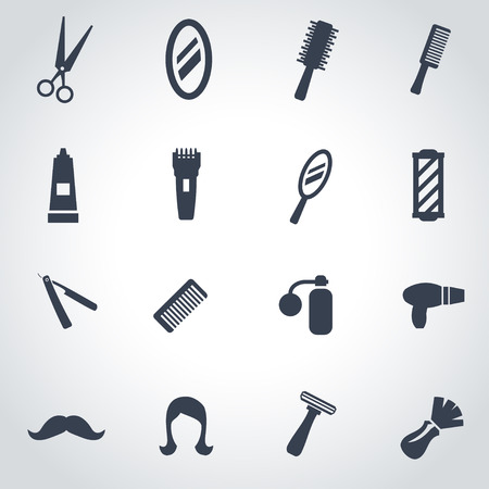Vector black barber icon set on grey background Vector