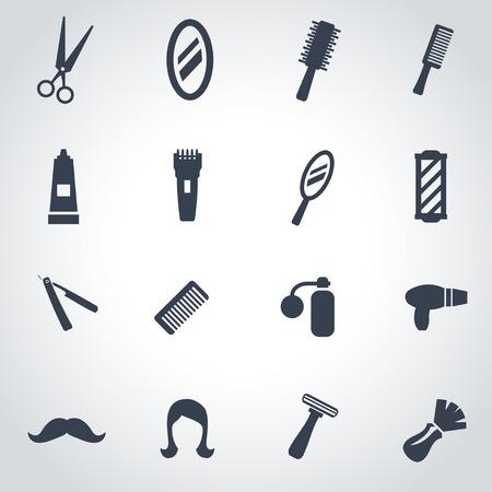 barbero: Vector icono barbero negro situado en el fondo gris Vectores