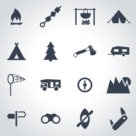 camping: Vector black camping icon set on grey background