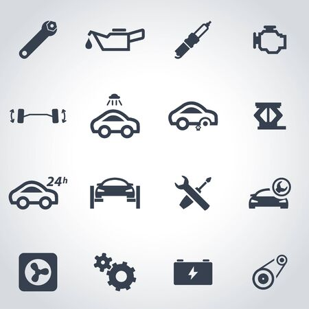 auto service: Vector black car service icon set on grey background
