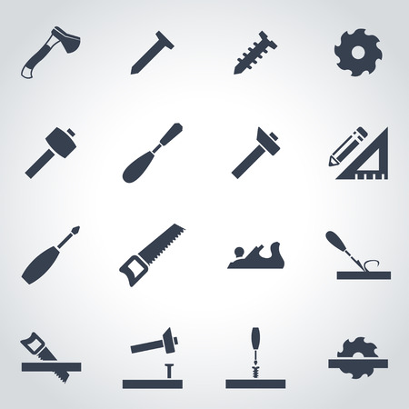 carpentry: Vector black carpentry icon set on grey background
