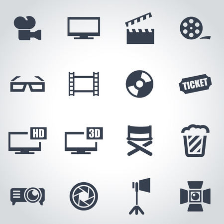 cine: Vector black cinema icon set on grey background