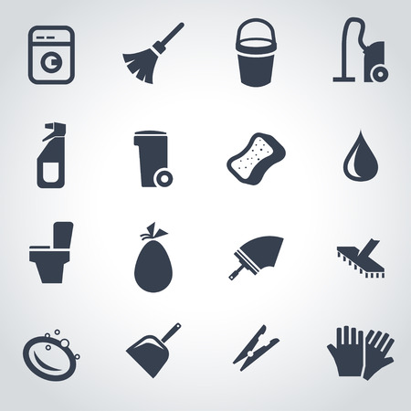 cleaning equipment: Vector black cleaning icon set on grey background Illustration