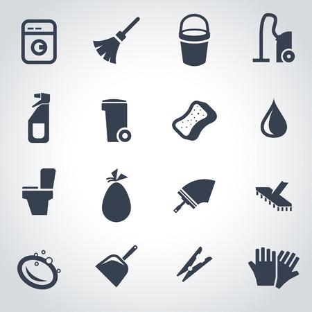 washing windows: Vector black cleaning icon set on grey background Illustration
