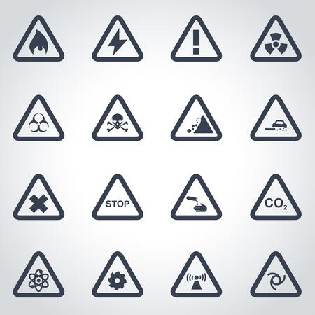 danger of radiation: Vector black danger icon set on grey background