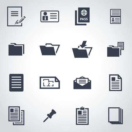 documents: Vector black document icon set on grey background