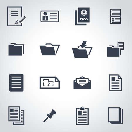 documentos: Vector icono de documento Conjunto negro sobre fondo gris