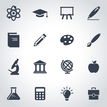 Vector black education icon set on grey background