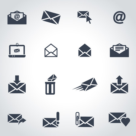 email address: Vector black email icon set on grey background
