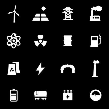 energetics: Vector white energetics icon set on black background Illustration