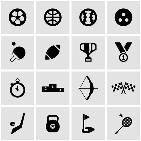 sports: Vector black sport icon set on grey background