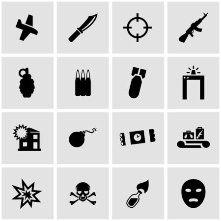 terrorism: Vector black terrorism icon set on grey background