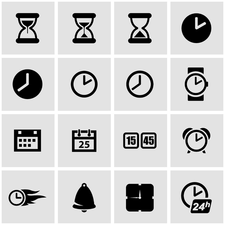 24 hour: Vector black time icon set on grey background