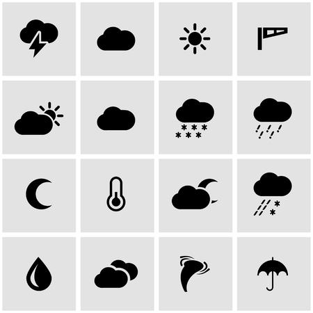 clima: Vector icono del tiempo ajustado negro sobre fondo gris