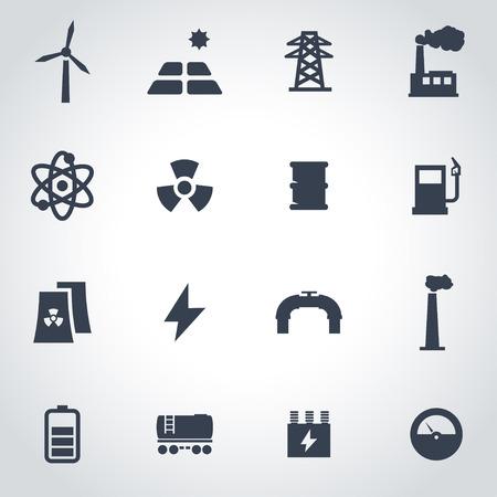 electrical engineer: Vector black energetics icon set on grey background