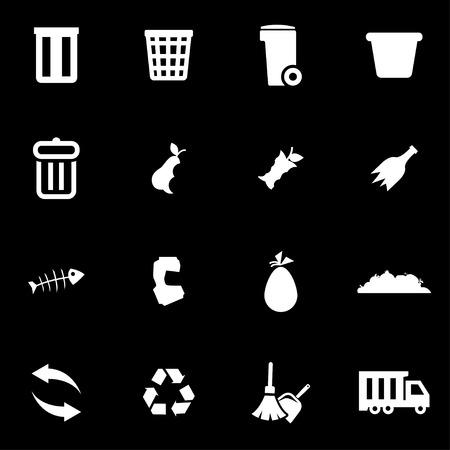 landfill: Vector white garbage icon set on black background Illustration