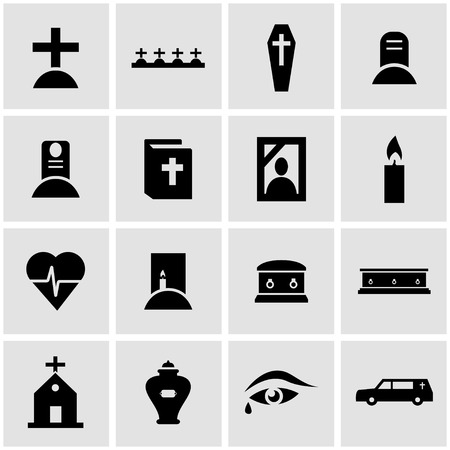 Vector black funeral icon set on grey background
