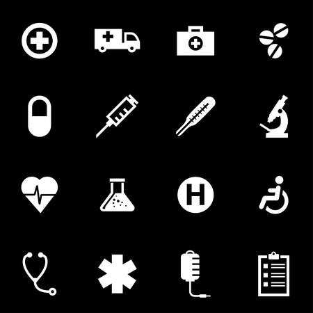 vector medical: Vector white medical icon set on black background