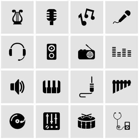 iconos de música: Vector icono de la música negro establece sobre fondo gris Vectores