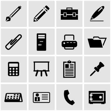 office icon: Vector black office icon set  on grey background