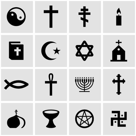 cruz religiosa: Vector religión negro conjunto de iconos sobre fondo gris
