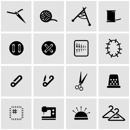 maquinas de coser: Vector icono de coser negro establece sobre fondo gris