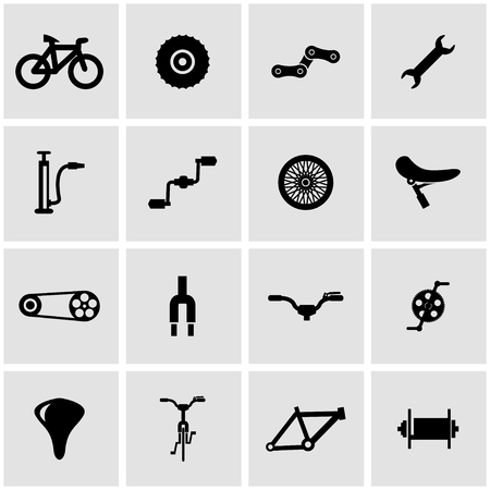 bicycle pedal: Vector black bicycle icon set on grey background