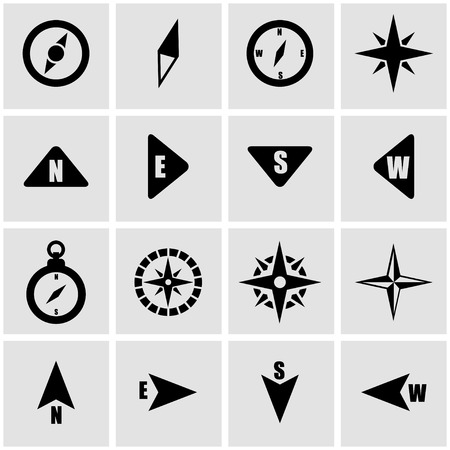 Vector black compass icon set on grey background