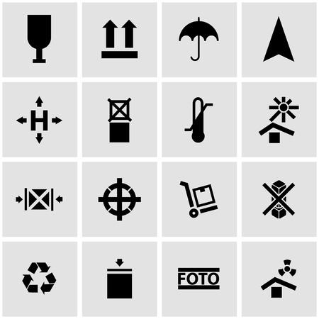 marking: Vector black marking of cargo icon set on grey background