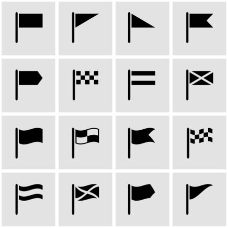 black flag: Vector black flag icon set on grey background Illustration