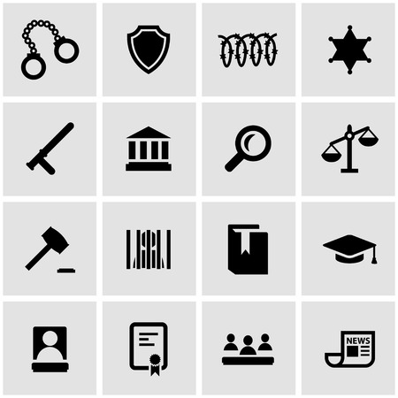 justice legal: Vector black justice icon set on grey background