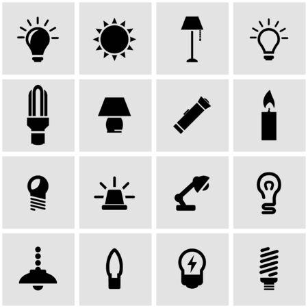 black light: Vector black light icon set on grey background