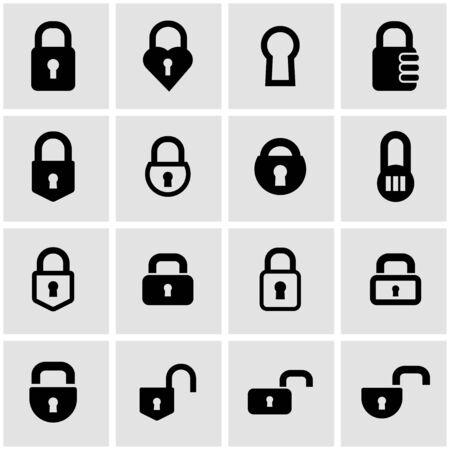 closed lock: Vector black locks icon set on grey background Illustration