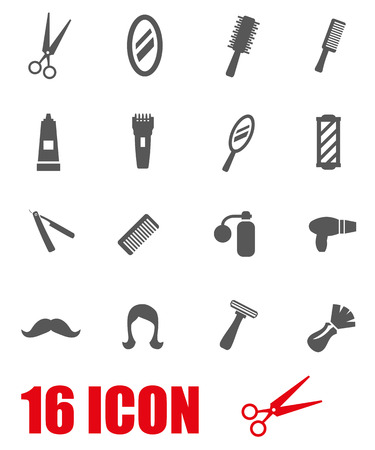 barber shave: Vector black barber icon set on white background