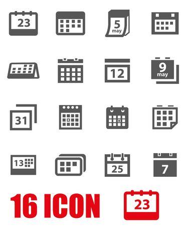 Vector grey calendar icon set on white background
