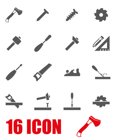 carpentry: Vector grey carpentry icon set on white background Illustration