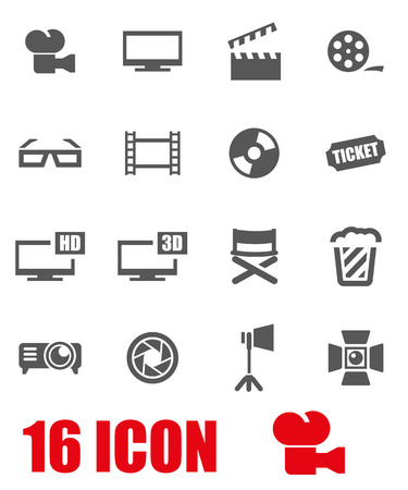 cinema film: Vector grey cinema icon set on white background Illustration