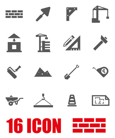 concrete construction: Vector grey construction icon set on white background Illustration