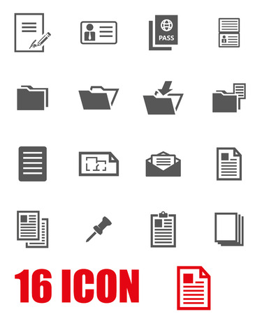 Vector grey document icon set on white background