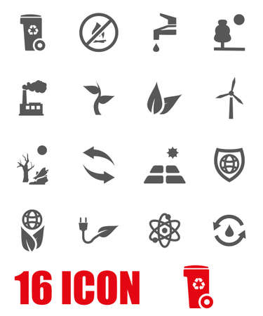 ECO: Vector grey eco icon set on white background