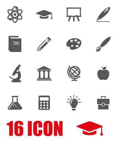 schulausbildung: Vector grau Bildung Icon Set auf weißem Hintergrund Illustration