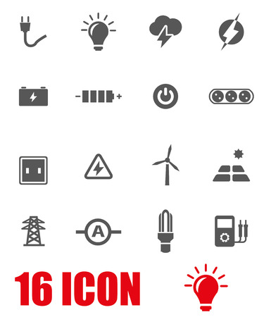 electricity meter: Vector grey electricity icon set on white background