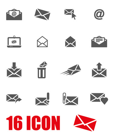 computer icon set: Vector grey email icon set on white background