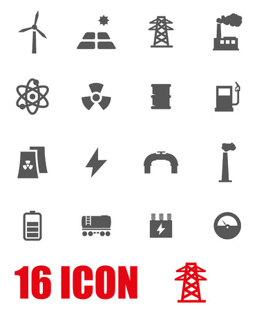 electrical engineer: Vector grey energetics icon set on white background
