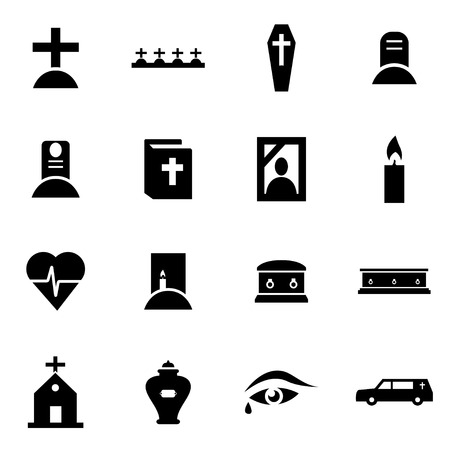 Vector black funeral icon set on white background Vettoriali