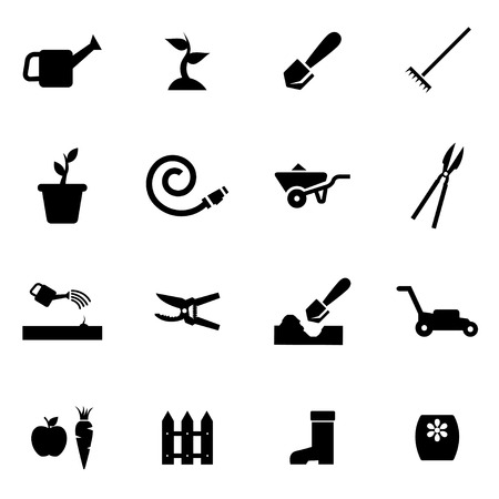gardening hose: Vector black gardening icon set on white background