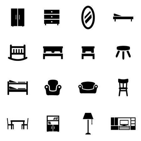 table decor: Vector black furniture icon set on white background