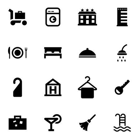 hotel icon set: Vector black hotel icon set on white background Illustration