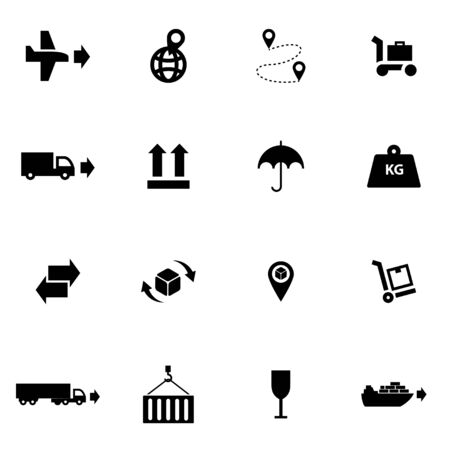 global logistics: Vector black logistic icon set on white background Illustration